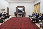 Palestinian President Mahmoud Abbas meets with Egyptian intelligence service, Abbas Kamel, in the West Bank city of Ramallah on May 30, 2021. Photo by Thaer Ganaim