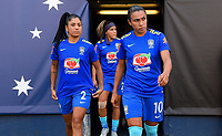 San Diego, CA - Sunday July 30, 2017: Maurine, Marta during a 2017 Tournament of Nations match between the women's national teams of the United States (USA) and Brazil (BRA) at Qualcomm Stadium.