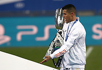 Football: Super Cup Final Juventus vs Napoli at Mapei Stadium in Reggio Emilia, on January 20,  2021.<br /> Juventus' Cristiano Ronaldo celebrates with the trophy after winning 2-0  the Italian Super Cup Final match between Juventus and Napoli at Mapei Stadium in Reggio Emilia, on January 20,  2021.<br /> UPDATE IMAGES PRESS/Isabella Bonotto