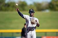 Peoria Javelinas shortstop Lucius Fox (5), of the Tampa Bay Rays organization, throws during an Arizona Fall League game against the Mesa Solar Sox at Sloan Park on November 6, 2018 in Mesa, Arizona. Mesa defeated Peoria 7-5 . (Zachary Lucy/Four Seam Images)