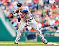 24 September 2011: Atlanta Braves first baseman Freddie Freeman in action against the Washington Nationals at Nationals Park in Washington, DC. The Nationals defeated the Braves 4-1 to even up their 3-game series. Mandatory Credit: Ed Wolfstein Photo