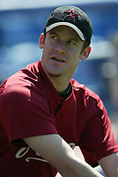 Roy Oswalt of the Houston Astros during a 2003 season MLB game at Dodger Stadium in Los Angeles, California. (Larry Goren/Four Seam Images)
