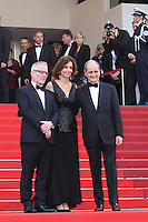 LA MINISTRE DE LA CULTURE AUDREY AZOULAY AVEC THIERRY FREMAUX ET PIERRE LESCURE - RED CARPET OF THE OPENING CEREMONY AND FILM 'CAFE SOCIETY' AT THE 69TH FESTIVAL OF CANNES 2016