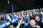 Lowestoft Town 2 Barrow 3, 25/04/2015. Crown Meadow, Conference North. Barrow make the six-hour trip to Suffolk needing a win to secure the title. Barrow fans in a crowd of 1402 know they have to win if their nearest rivals AFC Fylde do likewise. Photo by Simon Gill.