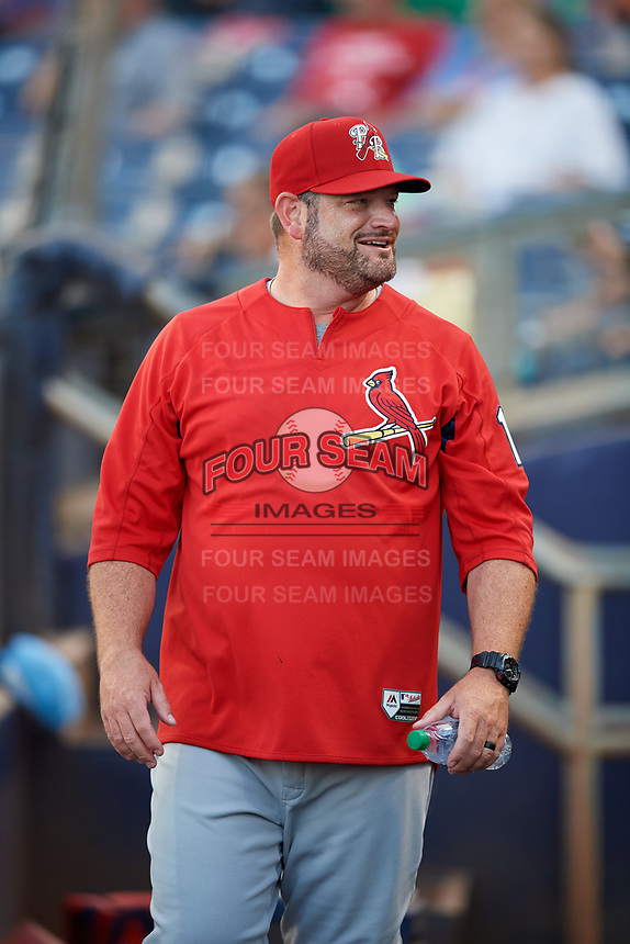 Palm Beach Cardinals pitching coach Will Ohman (13) before a game against the Charlotte Stone Crabs on April 21, 2018 at Charlotte Sports Park in Port Charlotte, Florida.  Charlotte defeated Palm Beach 5-2.  (Mike Janes/Four Seam Images)