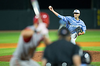 North Carolina Tar Heels relief pitcher Cole Aker (44) delivers a pitch to the plate against the North Carolina State Wolfpack in Game Twelve of the 2017 ACC Baseball Championship at Louisville Slugger Field on May 26, 2017 in Louisville, Kentucky.  The Tar Heels defeated the Wolfpack 12-4 to advance to the semi-finals.  (Brian Westerholt/Four Seam Images)