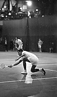 Peruvian-American tennis player Alex Olmedo in action at the National Indoor Tennis Championships, Seventh Regiment Armory, New York City, 1959. Photograph by John G. Zimmerman.