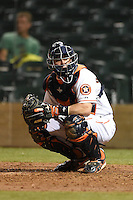 Salt River Rafters catcher Tyler Heineman (17) during an Arizona Fall League game against the Peoria Javelinas on October 17, 2014 at Salt River Fields at Talking Stick in Scottsdale, Arizona.  The game ended in a 3-3 tie.  (Mike Janes/Four Seam Images)