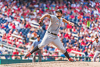 30 August 2015: Miami Marlins pitcher Brad Hand on the mound against the Washington Nationals at Nationals Park in Washington, DC. The Nationals rallied to defeat the Marlins 7-4 in the third game of their 3-game weekend series. Mandatory Credit: Ed Wolfstein Photo *** RAW (NEF) Image File Available ***