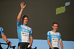 Andre Greipel (GER) and Dan Martin (IRL) Israel Start-Up Nation on stage at the team presentation before the Tour de France 2020, Nice, France. 27th August 2020.<br /> Picture: ASO/Thomas Maheux   Cyclefile<br /> All photos usage must carry mandatory copyright credit (© Cyclefile   ASO/Thomas Maheux)