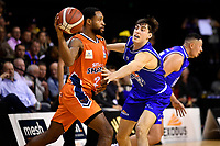 Courtney Belger of the Southland Sharks and Kael Robinson of the Wellington Saints during the round two NBL match between the Wellington Saints and the Southland Sharks at TSB Bank Arena, Wellington, New Zealand on Friday 7 May 2021.<br /> Photo by Masanori Udagawa. <br /> www.photowellington.photoshelter.com