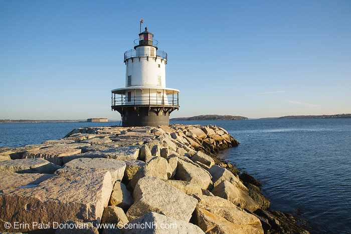 Spring Point Ledge Light at Fort Preble in South Portland, Maine during the winter months. Located at the end of a 900-foot granite breakwater, the Spring Point Ledge Light was built in 1897, and it is a sparkplug style Lighthouse.