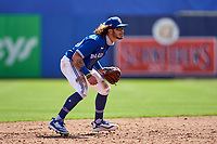 Toronto Blue Jays shortstop Austin Martin (80) during a Major League Spring Training game against the Pittsburgh Pirates on March 1, 2021 at the TD Ballpark in Dunedin, Florida.  (Mike Janes/Four Seam Images)