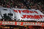 Nederland, Amsterdam, 15 augustus 2015<br /> Eredivisie<br /> Seizoen 2015-2016<br /> Ajax-Willem ll (3-0)<br /> Supporters van Ajax ontrollen een spandoek met de tekst Where s Johnny