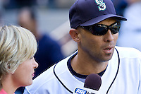 September 28, 2008: Free agent to be, Seattle Mariners' Raul Ibanez is interviewed by Fox Sports following the final game of the season.