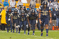 Members of the Pitt kickoff team line up. Pictured are Chase Pine (36), Oluwaseun Idowu (23), Colin Jonov (41), Dennis Briggs (20) and Jazzee Stocker (7). The Penn State Nittany Lions defeated the Pitt Panthers 51-6 on September 08, 2018 at Heinz Field in Pittsburgh, Pennsylvania.