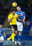 St Johnstone v Alashkert FC...09.07.15   UEFA Europa League Qualifier 2nd Leg<br /> Chris Kane and Artak Grigoryan<br /> Picture by Graeme Hart.<br /> Copyright Perthshire Picture Agency<br /> Tel: 01738 623350  Mobile: 07990 594431