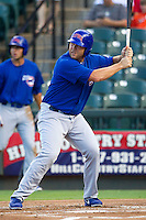 Iowa Cubs first baseman Brad Nelson (40) at bat against the Round Rock Express in the Pacific Coast League baseball game on July 21, 2013 at the Dell Diamond in Round Rock, Texas. Round Rock defeated Iowa 3-0. (Andrew Woolley/Four Seam Images)