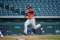 AZL Giants Orange Luis Toribio (22) runs home during an Arizona League game against the AZL Cubs 1 on July 10, 2019 at Sloan Park in Mesa, Arizona. The AZL Giants Orange defeated the AZL Cubs 1 13-8. (Zachary Lucy/Four Seam Images)