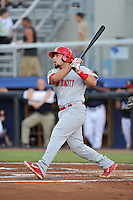 First baseman Erik Garcia (30) of the Johnson City Cardinals bats in a game against the Danville Braves on Friday, July 1, 2016, at Legion Field at Dan Daniel Memorial Park in Danville, Virginia. Johnson City won, 1-0. (Tom Priddy/Four Seam Images)