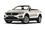 Stock pictures of low aggressive front three quarter view of 2020 Volkswagen T-Roc Style 5 Door SUV Low Aggressive