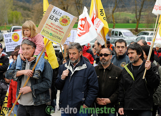 Anti-nuclear demonstrators take part in a protest in front of the Nuclear Central of Santa Maria de Garona to demand its immediate closure and against nuclear power in the wake of the disaster in Japan, at north of Burgos in Spain on March 27, 2011. The nuclear reactor Garo-a (Burgos) entered service in 1971 and operates with the same technology as the Fukushima 1, the Japanese reactor had an accident after the earthquake and tsunami.(c) Pedro ARMESTRE.