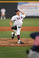 Team Stars pitcher Hunter Barco (61) (Florida) during a game against Team Stripes on July 6, 2021 at Pioneer Park in Greeneville, Tennessee. (Tracy Proffitt/Four Seam Images)