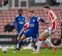 9th January 2021; Bet365 Stadium, Stoke, Staffordshire, England; English FA Cup Football, Carabao Cup, Stoke City versus Leicester City; Harvey Barnes of Leicester City under pressure from Harry Souttar of Stoke City