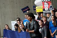 Ayanna Pressley at Vote No on Kavanaugh confirmation demonstration Boston MA 10.1.18