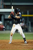 Bobby Whalen (14) (Indiana) of the Danville Otterbots at bat against the Burlington Sock Puppets at Burlington Athletic Park on June 5, 2021 in Burlington, North Carolina. (Brian Westerholt/Four Seam Images)