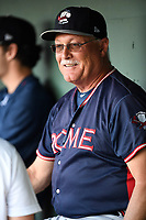 Manager Randy Ingle (12) of the Rome Braves waits in the dugout before a game against the Greenville Drive on Wednesday, May 31, 2017, at Fluor Field at the West End in Greenville, South Carolina. Greenville won, 7-1. (Tom Priddy/Four Seam Images)