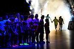 Berlin, Germany, February 01: Presentation of the teams before the 1. Bundesliga Damen Hallensaison 2014/15 final hockey match between Duesseldorfer HC (white) and HTC Uhlenhorst Muehlheim (green) on February 1, 2015 at the Final Four tournament at Max-Schmeling-Halle in Berlin, Germany. Final score 4-1 (1-0). (Photo by Dirk Markgraf / www.265-images.com) *** Local caption ***