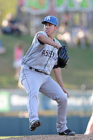 Relief pitcher Trent Daniel (37) of the Asheville Tourists delivers a pitch in a game against the Greenville Drive on Wednesday, April 23, 2014, at Fluor Field at the West End in Greenville, South Carolina. Greenville won, 6-0. (Tom Priddy/Four Seam Images)