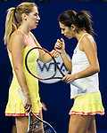 Raluca Olaru of Romania (R) and Olga Savchuk of Ukraine (L) celebrates winning a point during their doubles match of the WTA Elite Trophy Zhuhai 2017 against Chen Liang and Zhaoxuan Yang of China at Hengqin Tennis Center on October 31, 2017 in Zhuhai, China. Photo by Yu Chun Christopher Wong / Power Sport Images