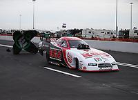 Apr 20, 2018; Baytown, TX, USA; NHRA funny car driver Jim Campbell during qualifying for the Springnationals at Royal Purple Raceway. Mandatory Credit: Mark J. Rebilas-USA TODAY Sports