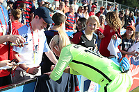 Cary, NC - Sunday October 22, 2017: Jane Campbell signs an autograph after an International friendly match between the Women's National teams of the United States (USA) and South Korea (KOR) at Sahlen's Stadium at WakeMed Soccer Park. The U.S. won the game 6-0.
