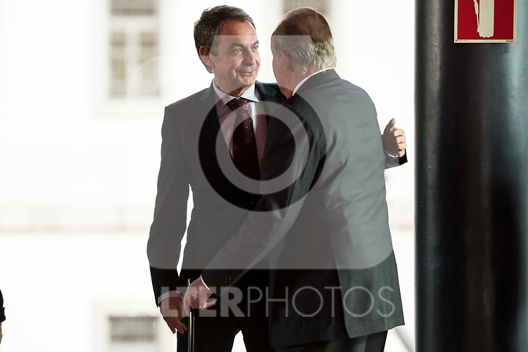 Jose Luis Rodriguez Zapatero and King Juan Carlos attends to the act of imposition of the great cross of the civil order of Alfonso X el Sabio to D. Francisco Luzon Lopez at Reina Sofia Museum in Madrid. March 13, 2017. (ALTERPHOTOS/Borja B.Hojas)