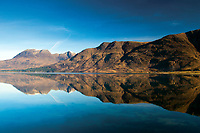 Beinn Alligin reflected in Upper Loch Torridon, Annat, Ross & Cromarty, Northwest Highlands