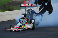 Jul, 22, 2011; Morrison, CO, USA: NHRA top fuel dragster driver Terry McMillen during qualifying for the Mile High Nationals at Bandimere Speedway. Mandatory Credit: Mark J. Rebilas-
