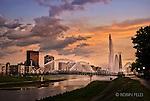 Dayton OHio skyline photo through fountains and pedestrian bridge