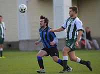 Action from the Capital Football division five match between Marist Baggies and Miramar Rangers AFC Part Time Rangers at Kilbirnie Park in Wellington, New Zealand on Saturday, 17 April 2021. Photo: Dave Lintott / lintottphoto.co.nz