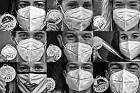 Italian Champions <br /> show the medal wearing a mask due the covid-19 pandemic<br /> <br /> Roma 12/08/2020 Foro Italico <br /> FIN 57 Trofeo Sette Colli 2020 Internazionali d'Italia<br /> Photo Andrea Staccioli/DBM/Insidefoto