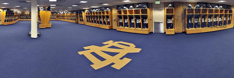 Panoramic view of the Football locker room in Notre Dame Stadium..Photo by Matt Cashore/University of Notre Dame