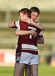 St Joseph's Doora Barefield players jack Hannon and Peter Collins celebrate the win over Broadford in their Intermediate county final in Cusack Park. Photograph by John Kelly.