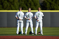 (L-R) Josh Haney (6), Tommy Bullock (9), and Carson Johnson (2) of the Charlotte 49ers stand for the National Anthem prior to the game against the Marshall Thundering Herd at Hayes Stadium on March 22, 2019 in Charlotte, North Carolina. The Thundering Herd defeated the 49ers 12-6. (Brian Westerholt/Four Seam Images)