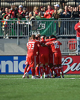 11 April 2009: Toronto FC players  celebrate the first goal during MLS action at BMO Field Toronto, in a game between FC Dallas and Toronto FC. .Final score was a 1-1 draw.