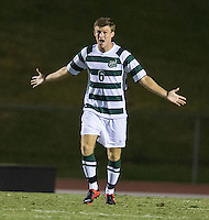 Number 8 ranked Charlotte beats number 16 ranked Coastal Carolina 1-0 on a goal by Thomas Allen in the 101st minute during the second overtime.  Will Mayhew (6)