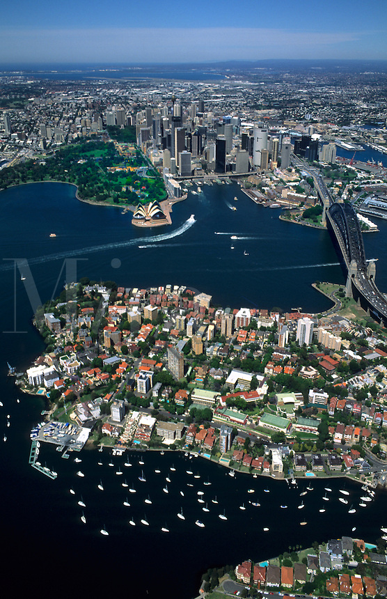Sydney Australia harbour with skyline and downtown area.