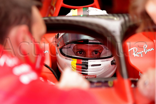 12th November 2020; Istanbul Park, Istanbul, Turkey;   FIA Formula One World Championship 2020, Grand Prix of Turkey, 5 Sebastian Vettel GER, Scuderia Ferrari Mission Winnow speaks to technicians