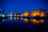 View of the Waterside Maritime Museum at night, Liverpool, England, UK